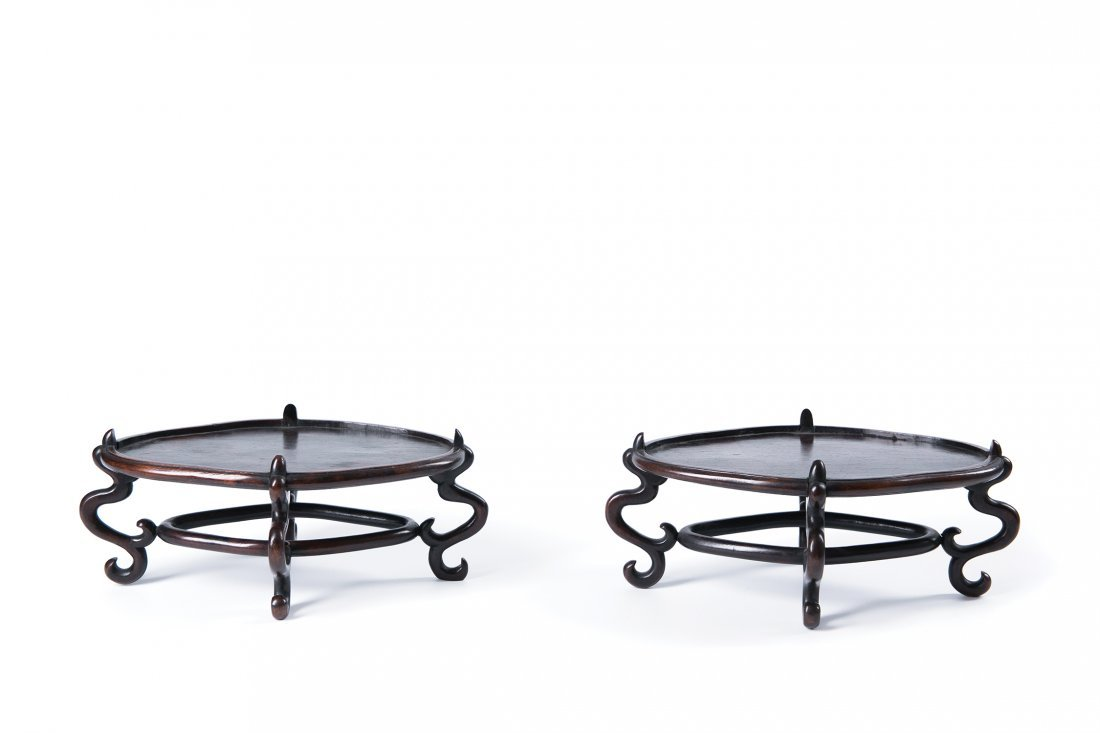 A PAIR OF CHINESE HARDWOOD STANDS, QING DYNASTY