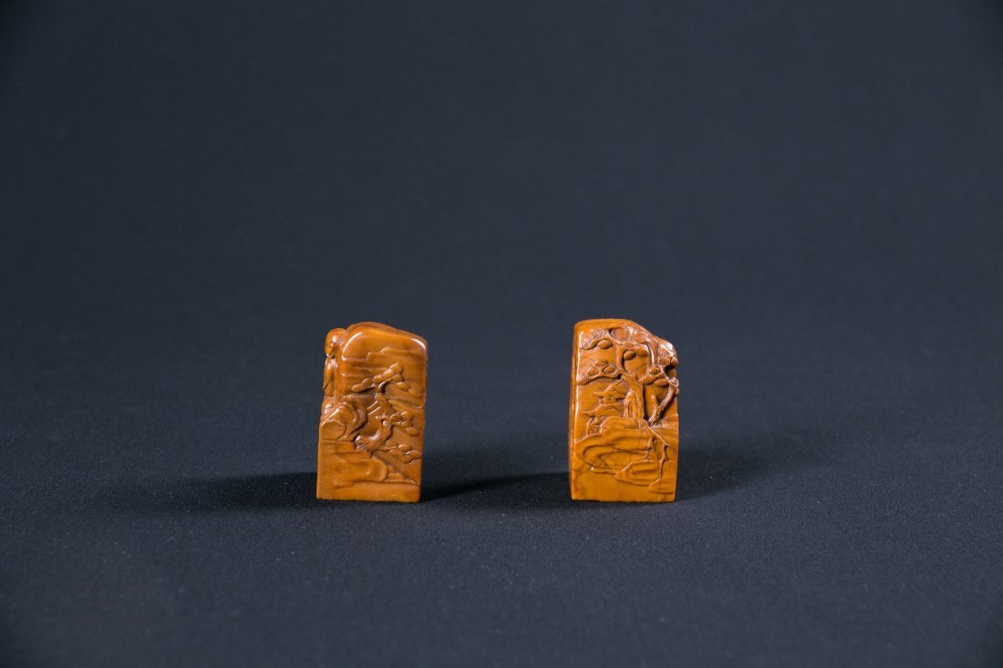 A CHINESE PAIR OF SOAPSTONE SEALS, 18TH / 19TH CENTURY
