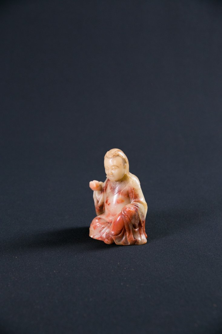 A CHINESE SOAPSTONE LUO HAN, 18TH / 19TH CENTURY