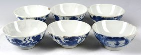 3 Pairs Of Chinese Blue And White Porcelain Bowls