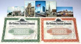 5 Boston Vintage Postcards, 4 American $100 Bonds