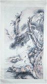 CHINESE SCROLL PAINTING OF SCHOLAR UNDER PINE TREE,