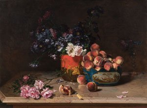 Philippe Rousseau - Still Life with Peaches and mixed