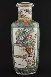 Fine Famille Verte Rouleau Vase