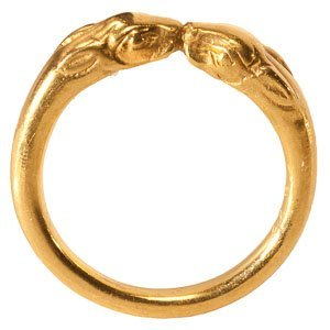 Gold Ring with Rabbit Heads: NO RESERVE