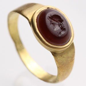 Garnet Intaglio with the Bust of a Warrior: NO RESERVE