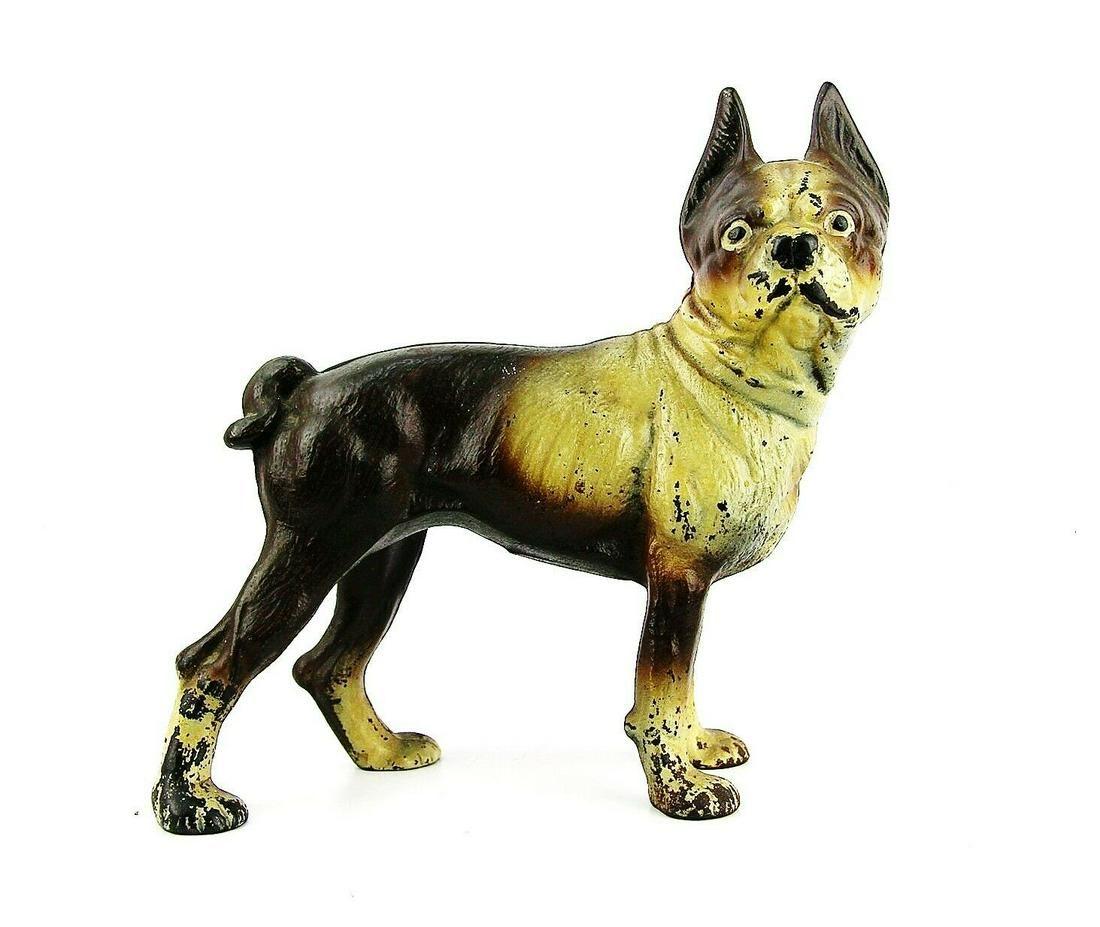 """ANTIQUE HUBLEY? CAST IRON 9"""" DOORSTOP Boston Terrier"""