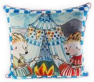"""MacKenzie-Childs Happy Campers Pillow Royal Check 22""""sq"""