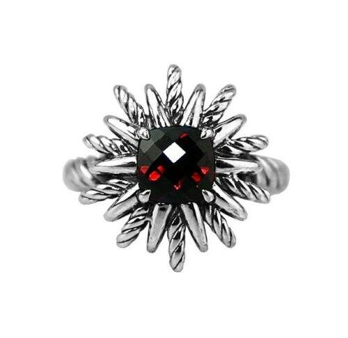 DAVID YURMAN 18mm STARBURST RING STERLING SILVER RED