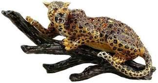 Jay STRONGWATER Jaguar ON A Branch Figurine Swarovski