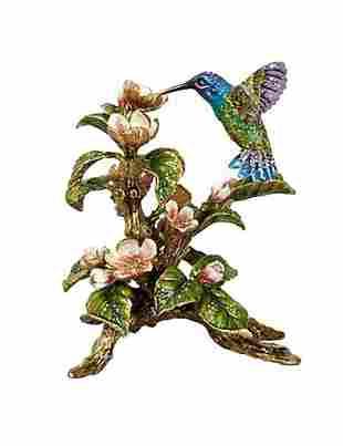 JAY STRONGWATER DAWN HUMMINGBIRD TABLEAU FIGURINE with