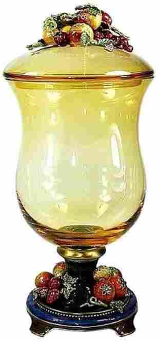 "Jay Strongwater ""Tuscany Lidded Glass Jar Paulina"