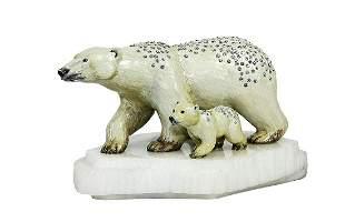 "Jay Strongwater ""Berenger & Boo Polar Bear Figurines on"
