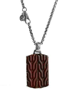 JOHN HARDY STERLING SILVER RED JASPER DOG TAG NECKLACE
