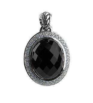 DAVID YURMAN AMAZING ST. SILVER 22 x18mm ONYX & DIAMOND