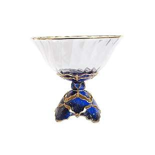 """JAY STRONGWATER BEAU PEDESTAL BOWL SAPPHIRE LARGE 15"""""""