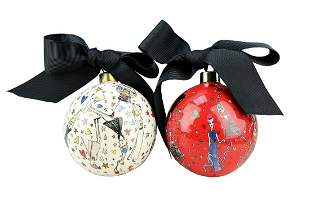 LANVIN PORCELAIN SET OF TWO BALL CHRISTMAS ORNAMENT