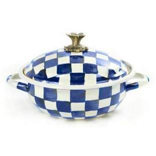 "MacKenzie-Childs  ROYAL CHECK BLUE  CASSERBOLE 10.25"" D"