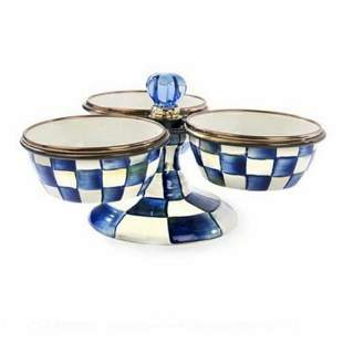 MacKenzie-Childs  ROYAL CHECK BLUE TRIPLICITY 10""