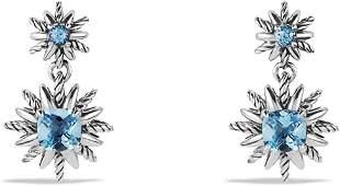 David Yurman Double Drop Starburst Earrings with Blue