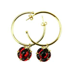 BACCARAT JEWELRY B FLOWER STERLING SILVER VERMEIL RED