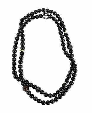 "DAVID YURMAN ST. SILVER 18K GOLD 36"" BLACK ONYX &"