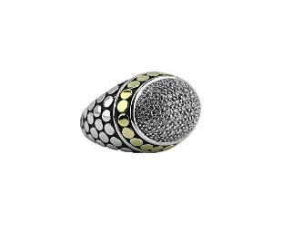 John Hardy DOT Dome 18K Gold ST. Silver Pave Diamond