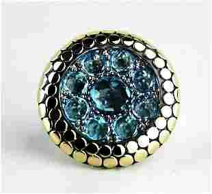 JOHN HARDY SWISS BLUE TOPAZ DOT RING sz. 7 NEW  26R