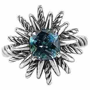 David Yurman 18mm Starburst Ring  Blue Topaz#1R (6)