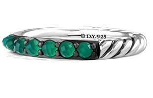 David Yurman 3mm Cable Berries Green Onyx Band Ring