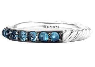 David Yurman 3mm Cable Berries Blue Topaz Band Ring (7)