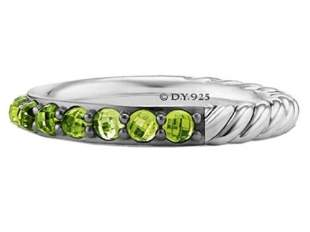 David Yurman 3mm Cable Berries Peridot Band Ring (7)