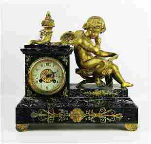 ANTIQUE FRENCH 19th CENTURY MANTEL BRONZE CUPID CLOCK