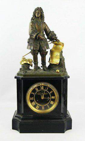 ANTIQUE FRENCH 9th CENTURY MANTEL BRONZE CLOCK 20""