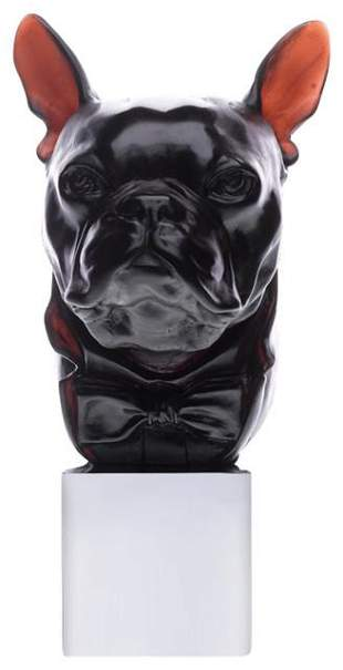 Daum Crystal Dandys Charles Bulldog Black
