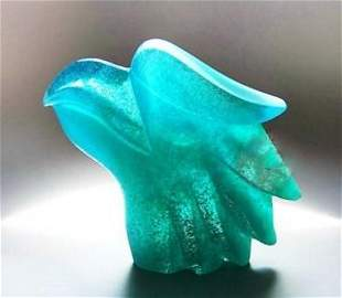 """DAUM CRYSTAL 7"""" CLEAR TURQUOSE QUETZAL HEAD"""