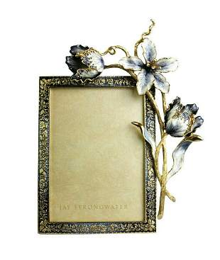 """Jay Strongwater Margery Tulip 5"""" x 7"""" Frame - Delft"""