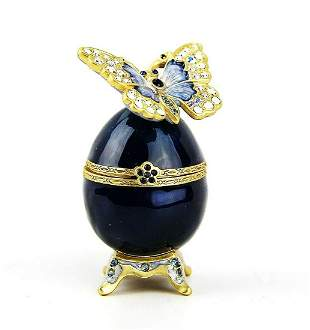 JAY STRONGWATER AMELIE BUTTERFLY EGG TRINKET BOX DELFT
