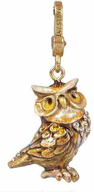 Jay Strongwater Albert Owl Charm 18K Gold Plated