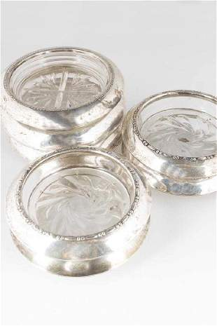 Seven (7)Cut Crystal Drink Coasters with Sterling