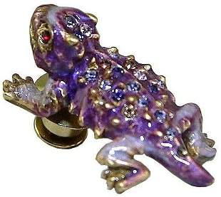 Jay Strongwater TACK PIN Super Rare Purple Horned Frog