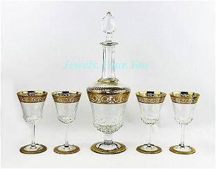 SAINT LOUIS FOR HERMES SET WINE DECANTER & GLASSES