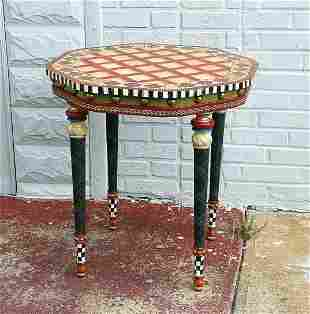 """MACKENZIE CHILDS MARQUETRY INLAY PAINT TABLE 25"""" DIA"""