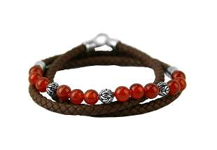 JOHN HARDY ST. SILVER RED AGATE TRIPLE WRAP LEATHER