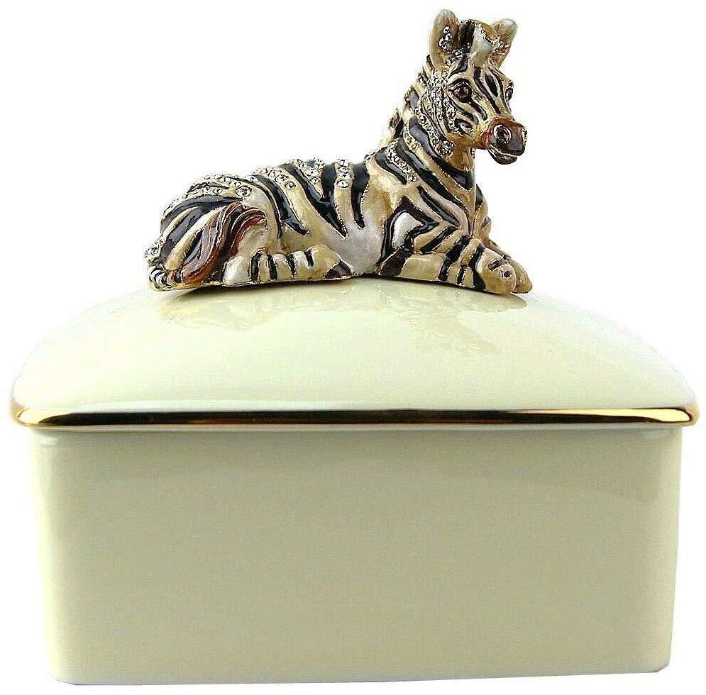 Jay Strongwater Gorgeous Zebra Porcelain Cream Trinket