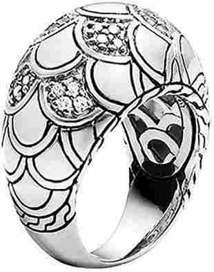 JOHN HARDY NAGA STERLING SILVER SCALE DOME DIAMOND RING