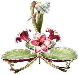JAY STRONGWATER GIVERNY PEARL PORCELAIN LEAF LRG TRIPLE