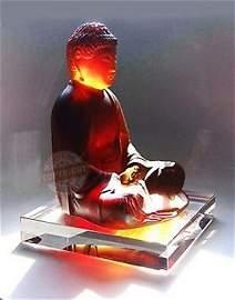 """DAUM CRYSTAL 10"""" AMBER CLEAR SITTING BUDDHA"""
