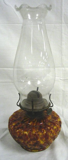 SPATTER GLASS BEAD & SWIRL RIB KEROSENE LAMP