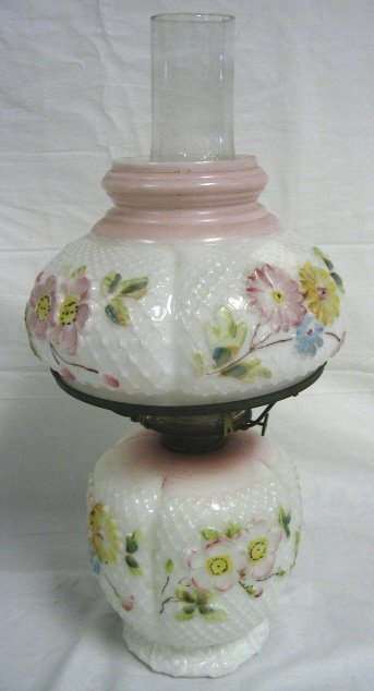 PINK BAND COSMOS DECORATED MILK GLASS PARLOR LAMP